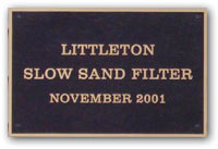 Plaque - Littleton Slow Sand Filter, November 2001